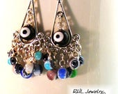Evil Eye Earrings, Silver Chandelier Earrings, Many Eyes Protection Jewelry - E2017-06