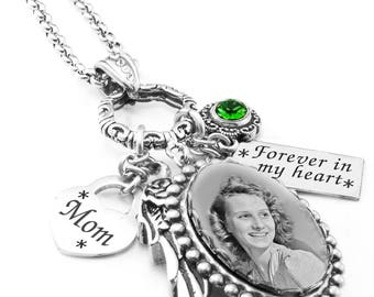 Memory Necklace, Remembrance Necklace, Photo Memorial Necklace, Mom Memorial Jewelry, Father Memorial Jewelry