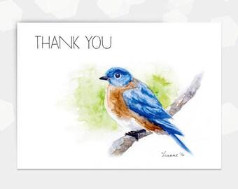 Watercolour Bluebird Thank You Card - Digital DIY Printable