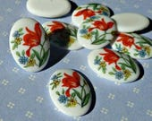 Six Vintage Japanese 14x10mm Glass Cabochons with Red Tulip Flower Detail (5-45-6)