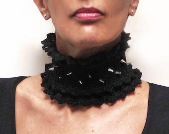 Crocheted Black Neckwarmer with Silver Spike Studs - Spike Stud Choker - Punk Rock Collar - Steampunk Goth Neckwarmer - BLACK THORNS