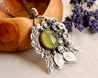 Silver Botanical Necklace, Prehnite Pendant, Botanical Necklace, Artisan Metalwork, Modern Artisan Jewelry, Art Necklace