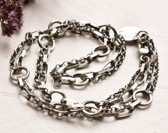 Handmade Silver Chain, Silver Necklace, Modern Silver Chain, Oxidized Silver Chain, Hand Fabricated Chain, Gift for Her,