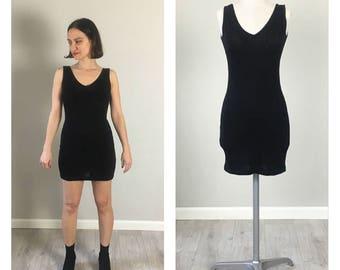 Fitted 80's Stretch Bodice Donna Karen Black mini dress