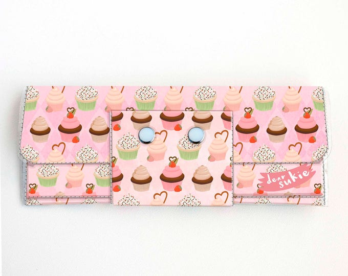 Vinyl Long Wallet - Cupcakes / pink, sweets, dessert, vegan, pretty, large wallet, clutch, card case, vinyl wallet, woman, cake, baker, cute