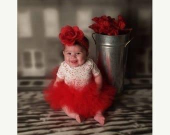 SUMMER SALE 20% OFF Red Tutu - Sewn Infant Tutu - Baby's First Tutu - Ready To Ship - newborn to 12 mo - Birthdays, Valentine's Day