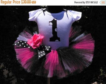 "SUMMER SALE 20% OFF Girls Tutu Skirt - Birthday Tutu - Hot Pink Black White Tutu - Rockabilly Birthday - Sewn 8"" Tutu - Up to size 5T - Tutu"