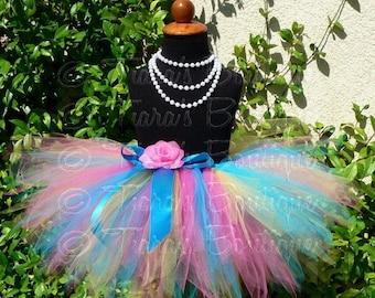 "SUMMER SALE 20% OFF Birthday Tutu - Girls Tutu Skirt - Pink Blue Yellow Tutu - Lollipops and Gumdrops - Custom Sewn 11"" Pixie Tutu - up to 5"