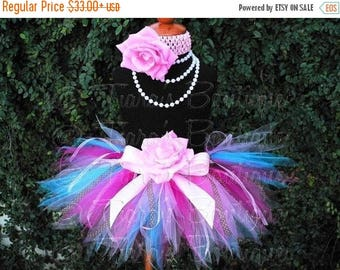 SUMMER SALE 20% OFF Pink Blue Brown Birthday Tutu, Girls Tutu Skirt w/ Ribbon Streamers, Cupcake Surprise, Sewn Pixie Tutu for Baby Infant T