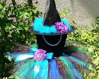 "SUMMER SALE 20% OFF Witch Tutu Halloween Costume - Pizzazz, the Exquisite Peacock Witch - Custom Sewn 11"" Pixie Tutu & Witch Hat - sizes up"