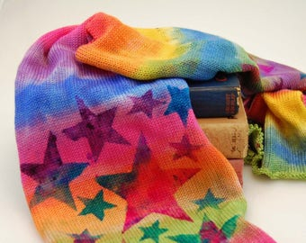 Single Knit Sock Blank- Rockstar Rainbow- Stripes of the rainbow with stars in 3 colors stenciled on top
