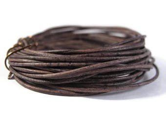 Natural Grey Leather, Strand of Natural Gray Round Leather, 1.0mm, 4 Foot Coil, Wrap Bracelets and Jewelry Making