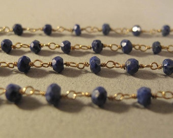 Rosary Chain - Beautiful Vermeil / Gemstone Chain, Gold Plate over Sterling Lapis Chain, By the Foot, Jewelry Supplies (L-Lap1)