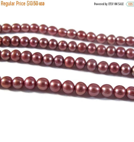 Summer SALEabration - Pink Pearl Beads, Lustrous Freshwater Pearl Beads, 4.5mm - 5mm Genuine Pearls for Making Jewelry, 16 Inch Strand (P-P1