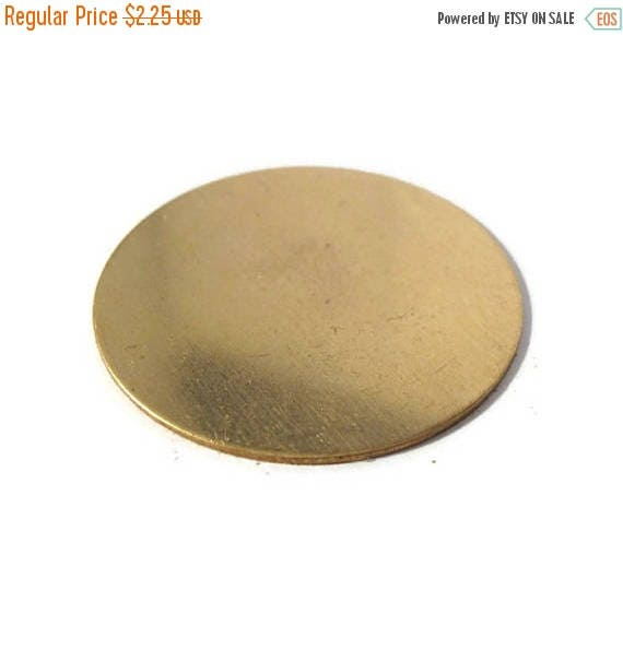Summer SALEabration - 1 Gold Stamping Disc Charm, Brass, Round 45mm Blank Disc, Flat Shiny Charm for Making Jewelry, Jewelry Supplies (F-19)