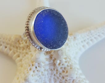 Sea Glass Jewelry Sea Glass Ring Cobalt Blue Sea Glass Ring Gift for Women Christmas Gift  Cobalt Blue Beach Glass Ring Size 7.25 - R-157