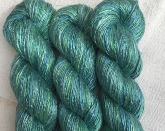 Silk Yarn Hand Dyed worsted weight - Seascape (3)