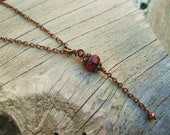 Custom Order for Krystal - Antiqued Copper Wire Wrapped Necklace with deep red Czech Picasso glass rondelle bead and chain dangle