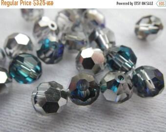 SALE 30% Off Bermuda Blue Preciosa 7mm Fire Polished Crystal Round Beads 12 Pcs