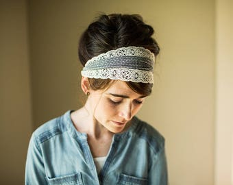 Rustic Lace in Chambray Garlands of Grace headwrap Headcovering head hair headband covering
