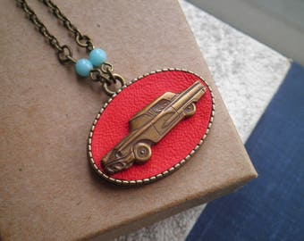 Classic Car Assemblage Necklace - Retro Red Leather Pendant - Vintage Car Love Upcycled Pin & Fabric Jewelry - Antique Car Lover Gift
