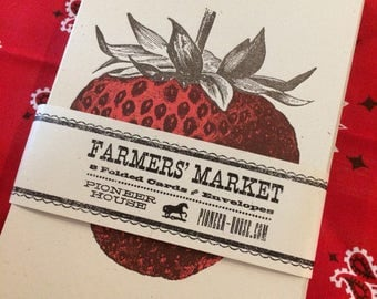 STRAWBERRY GREETING CARDS Farmers Market Letterpress Card Pack of 8