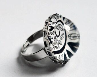 Ring, black hearts BA129A