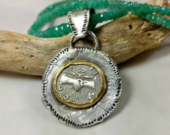 Ancient Coin Pendant, Ancient Roman coin, solid 22 kt gold Emerald necklace , Ancient coin Jewelry, Peace necklace, Emerald strand