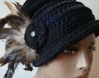 Black Cloche Hat with Brown Feathers -Black Crochet Hat - Black Hat - Crochet Cap - Custom colors available