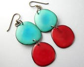Sky Blue and Strawberry Red Tagua Nut Eco Friendly Earrings with Free USA Shipping #taguanut #ecofriendlyjewelry