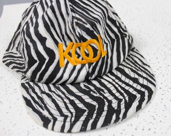 1990's Kool Cigarettes Zebra Print Snap Back Baseball Hat with Gold Embroidery