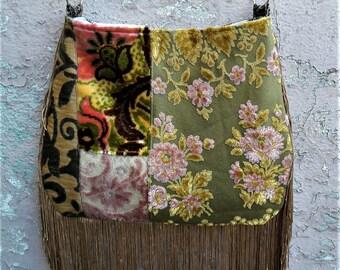 Reserve for CassidyBoho fringe bag with pink and green floral velvet crossbody bag