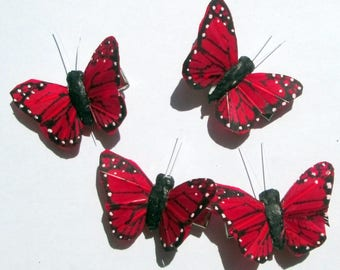 Butterfly Hair Clips small Red Monarch feather butterfly hand made hair clip Small Butterfly Hair Clips Red