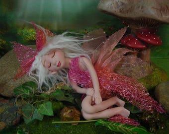 Sleeping Fairy Fairies Fae pixie elf OOAK Fantasy Art Doll By Lori Schroeder