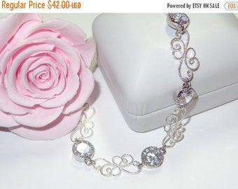 20% OFF Bridal Jewelry Bracelet Cubic Zirconia CZ Bridesmaids Gift Bridesmaid Jewellery Silver or Gold