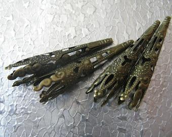 Filigree Cone Bead Cap 12 Jewelry Findings Bronze Plated