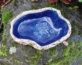 Blue Stars Geode Pet Water or Food Dish