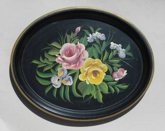 "Vintage Floral Tole Tray Oval Metal Tole Painted Tray Hand-Painted Flowers on Black Background 18"" x 14"" Toleware Tray Pilgrim Art"