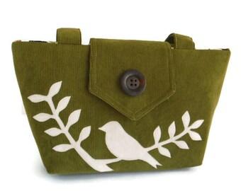 Bird on a Leafed Branch Applique - Corduroy Handbag - Wayfarer Purse - Olive Green - Vegan