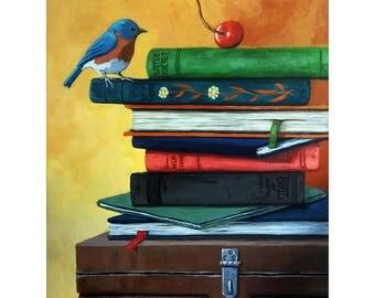A CHERRY ON TOP - box,books,bird original realistic still life painting