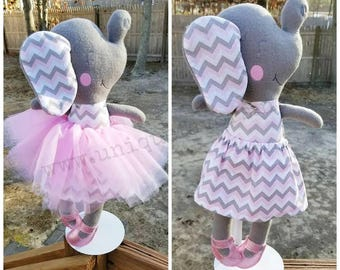 """Handmade Elephant Doll 18.5"""" or 15"""" with optional accessories! Boy & Girl versions available! Each is unique, one of a kind! Fully washable!"""