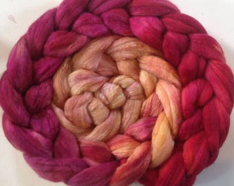 Hand Dyed gradient roving 3.5ozs merino/silk 80/20 ready to ship