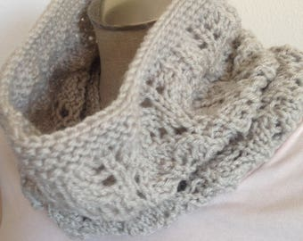 Knit cowl, neck scarf,  infinity scarf,  lace cowl in linen color