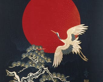 Japanese noren panel indigo blue Cranes