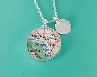 "SUMMER SALE Grand Journey Vintage Map Sterling Silver 24"" Necklace.  You Select Journey + Hand Stamped Letter"