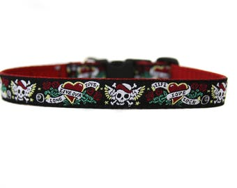 5/8 or 3/4 Inch Wide Dog Collar with Adjustable Buckle or Martingale in Biker Dog