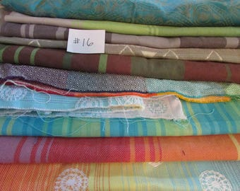 Wrap Scrap Fabrics #16 - Little Frog, Lenny Lamb, Mahogany, stripes, suck pads, drool pads, from woven baby wrap carriers, mobiles, clothing