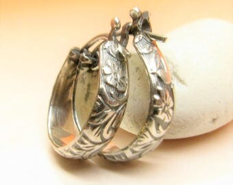 Small Sterling Silver Hoop Earrings, Floral Pattern Hoops, Metalsmith Jewelry, Extra Small Hoop Earrings, Metalwork Earrings,