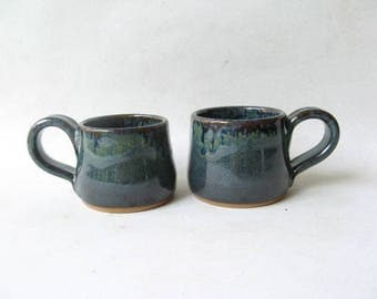 Handmade Espresso Cups Set of 2, Set of Demitasse, Stoneware Espresso Cups, Ceramic Espresso Cups