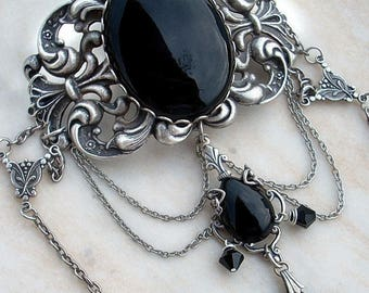 Black and silver goth choker wedding necklace Victorian choker with pendant Filigree Necklace statement choker victorian Goth Jewellery